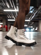 Hi Lace Up combat boots White