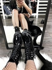 LU BOO BLACK PATENT WORK BOOTS WITH SILVER CRYSTALS