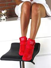 LU BOO RED OPENWORK SNEAKERS WITH HIDDEN WEDGES LACES AND VELCRO
