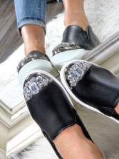Black Slip On Shoes With Glitter Jewels
