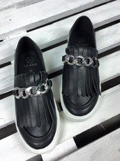 Black Moccasins Suede Slip On Fringe Molly