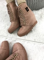 LU BOO pink SNEAKERS TRAINERS WEDGES CASSI
