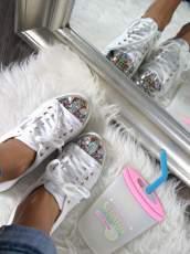 White sneakers with glitter jewels