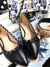 Lu Boo BLACK STUDDED BALLERINA SHOES