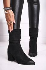 Women's Boots On High Heel Eco-Suede Black Up Side