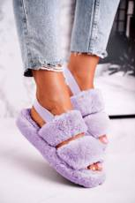 Women's Furry Slippers on the Platform Purple Cotton Candy