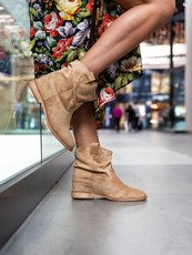 Classic beige ankle boots